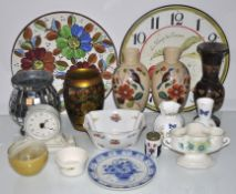 A quantity of ceramics and a clock