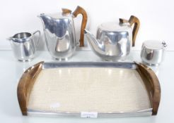 A Picotware tea set on tray