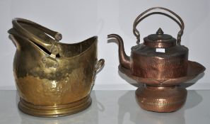 A scuttle and copper ware