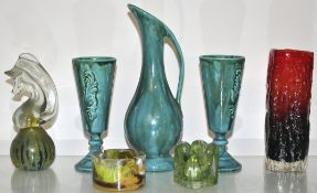 A Mdina paperweight and Whitefriars style vase and other items