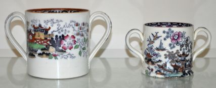 A twin handled mug, Staffordshire circa 1850, and another (2)