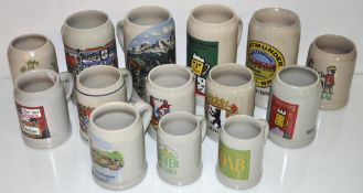 A group of 14 German steins,