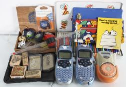 Assorted stationery and a labelling machine