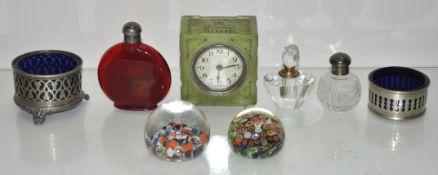 A glass Deco clock,