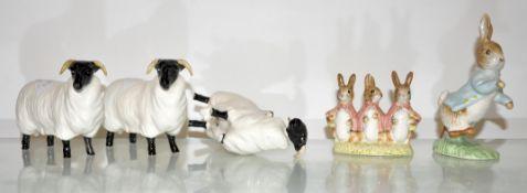 Two Beatrix Potter and three Beswick sheep (5)