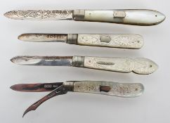 An engraved silver bladed mother of pearl handled fruit knife, Sheffield 1905,