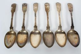 A group of six Scottish silver dessert spoons, in the fiddle and shell pattern, Edinburgh 1833,