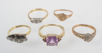 A collection of rings to include: A 18ct/plat five stone crossover diamond ring,