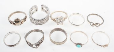 A collection of ten dress rings of variable designs. All are marked for silver 925.