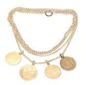 Silber Schnürkette, L 160 cm, mit Medaillen/Münzen Anhänger, 96 gr.