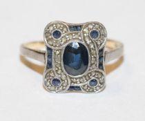 18 k Gelbgold/Silber Ring mit Safiren und Diamantsplitter um 1910, Gr. 53