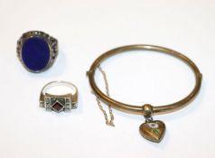 Silber Schmuck-Konvolut: Herren Ring mit Lapislazuli, Gr. 62, Damen Ring mit Markasiten, Gr. 54, und