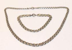 Silber Kette in Verlaufform, Dekor Garibaldi, L 40 cm mit passendem Armband, L 19 cm