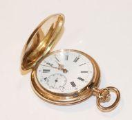 14 k Gelbgold Sprungdeckel Taschenuhr um 1900, intakt, Staubdeckel kein Gold, Deckel fein