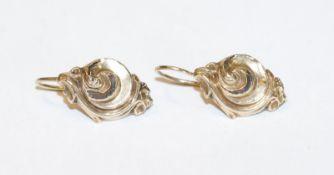 Paar 8 k Gelbgold Trachten-Ohrhänger, Tragespuren