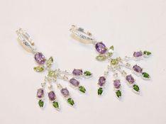 Paar ausgefallene Silber Ohrhänger mit Amethysten, Olivinen u. a. Farbsteinen besetzt