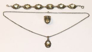 Schmuckset, 925 Silber mit Citrin, Armband, L 20 cm, Kette mit Anhänger, L 48 cm, und Ring, Gr.