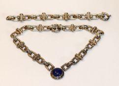 Ausgefallene Sterlingsilber Collierkette mit Lapislazuli ?, L 36 cm, und passendes Armband, L 20 cm,