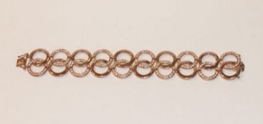 Dekortives Sterlingsilber Armband, Rotgold vergoldet mit Glassteinen, L 18.,5 cm