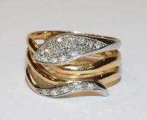 18 k Gelbgold Schlangen-Ring mit in Weißgold gefaßten Diamanten, 6 gr., Gr. 59