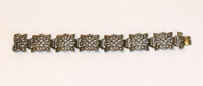 Armband aus reliefierten Gliedern, 800 Silber, L 18 cm