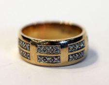 14 k Gelbgold Ring mit Diamanten, 7,8 gr., Gr. 60