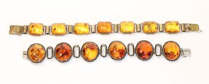 Sterlingsilber Armband mit Bernstein in ovaler Form, L 19 cm, und Silber/vergoldetes Armband mit