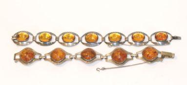 2 Silber Armbänder mit Bernstein, L 18 cm, Tragespuren