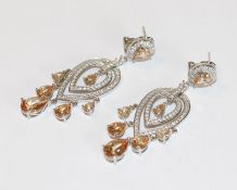 Paar dekorative Sterlingsilber Ohrsteckerclips mit Glassteinen besetzt, L 7 cm