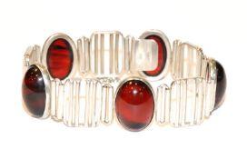 Silber Armband mit 5 ovalen Bernsteinen, 34 gr., L 19 cm
