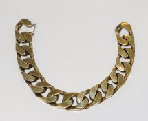 Flachpanzer-Armband, 925 Silber/vergoldet, 120 gr., L 21 cm, Tragespuren