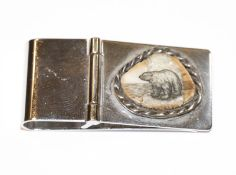 Sterlingsilber Geldklammer mit aufgesetztem Stein und Eisbärmotiv, 2,5 cm x 5 cm