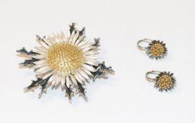 Brosche/Anhänger in Form einer Silberdistel, 835 Silber, teils vergoldet, D 5 cm, schöne Handarbeit