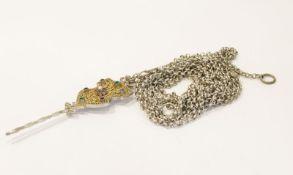Silber Schnürkette, L 300 cm, mit dekorativem Silberstecker, vergoldete, filigrane Verzierung und