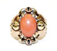 14 k Gelbgold Ring mit Koralle, 6,8 gr., Gr. 60, Handarbeit
