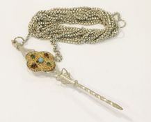 Schnürkette, Silber, L 340 cm, mit Silber Stecker, filigane Verzierung teils vergoldet und mit