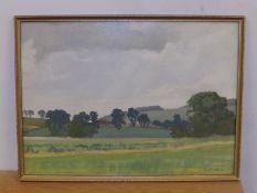 """John Henry Willis - oil on board - Rural scene, 10.5"""" x 14.5""""."""
