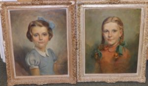 Wolfgang Craig Hainisch (1905-1995) - pair of oils - Half length portraits of two young girls, one