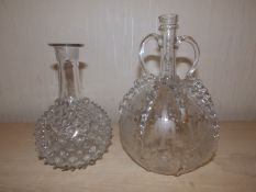 """A Facon de Venise glass two-handled bottle with engraved panel decoration, 9"""" high and a moulded"""