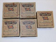 A set of five boxes of coloured lantern slides - 'The Boer War'. (40).