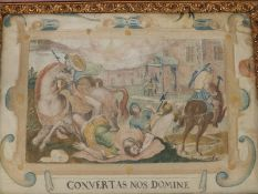 An 18thC Italian silk embroidered panel - 'Convertas Nos Domine' - depicting a biblical scene of