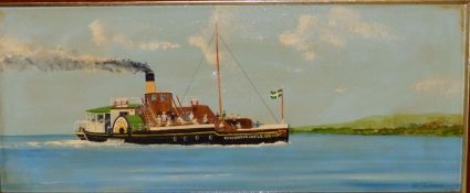 """Edward Lovesey - acrylics on canvas - The paddle steamer 'Kingswear Castle', signed, 9.5"""" x 23""""."""