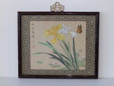 """A small 20thC Chinese watercolour on silk - Butterfly with irises, 7"""" x 8""""."""