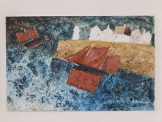 """Hazel Brown - mixed media on board - 'Storm Force', signed, 6"""" x 9""""."""
