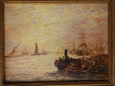 """A 19thC oil on board - Busy shipping scene with steam & sailing vessels, possibly on the Thames, 10"""""""