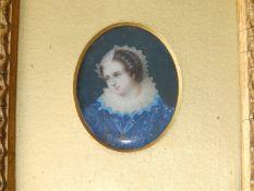 A small Victorian oval watercolour miniature - Head & shoulders portrait of an Elizabethan lady in