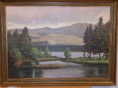 """John Henry Willis - oil on board - Loch Morlich, Aviemore, 19.5"""" x 27.5""""."""