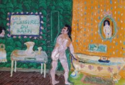 """Fred Yates (1922-2008) - oil on canvas - 'Les Plaisires Du Bain', Artcurial stamp to verso, 9"""" x"""