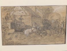 """H. C. Davis (?) - a 19thC pencil drawing with heightening - Two horse teams in collision, 10"""" x"""