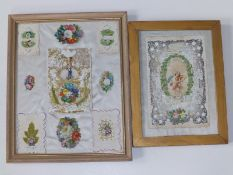 Two small framed displays of Victorian Valentine cards.